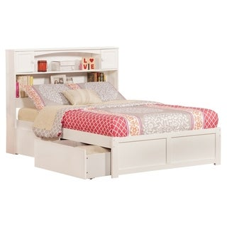 Newport Full Platform Bed with Flat Panel Foot Board and 2 Urban Bed Drawers in White