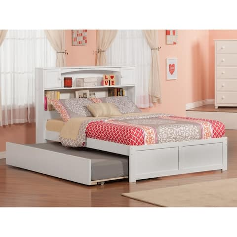 Newport White Full Platform Bed w/ Twin Trundle