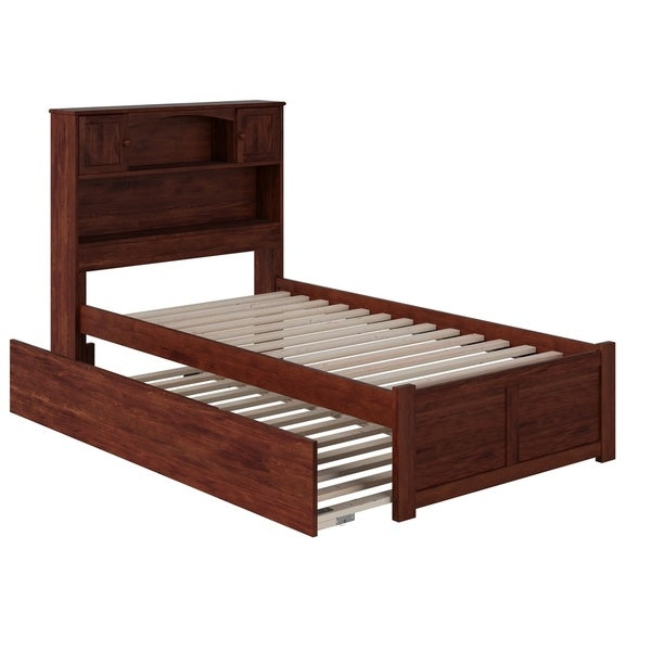Newport Twin Platform Bed with Flat Panel Foot Board and Twin Size Urban Trundle Bed in Walnut