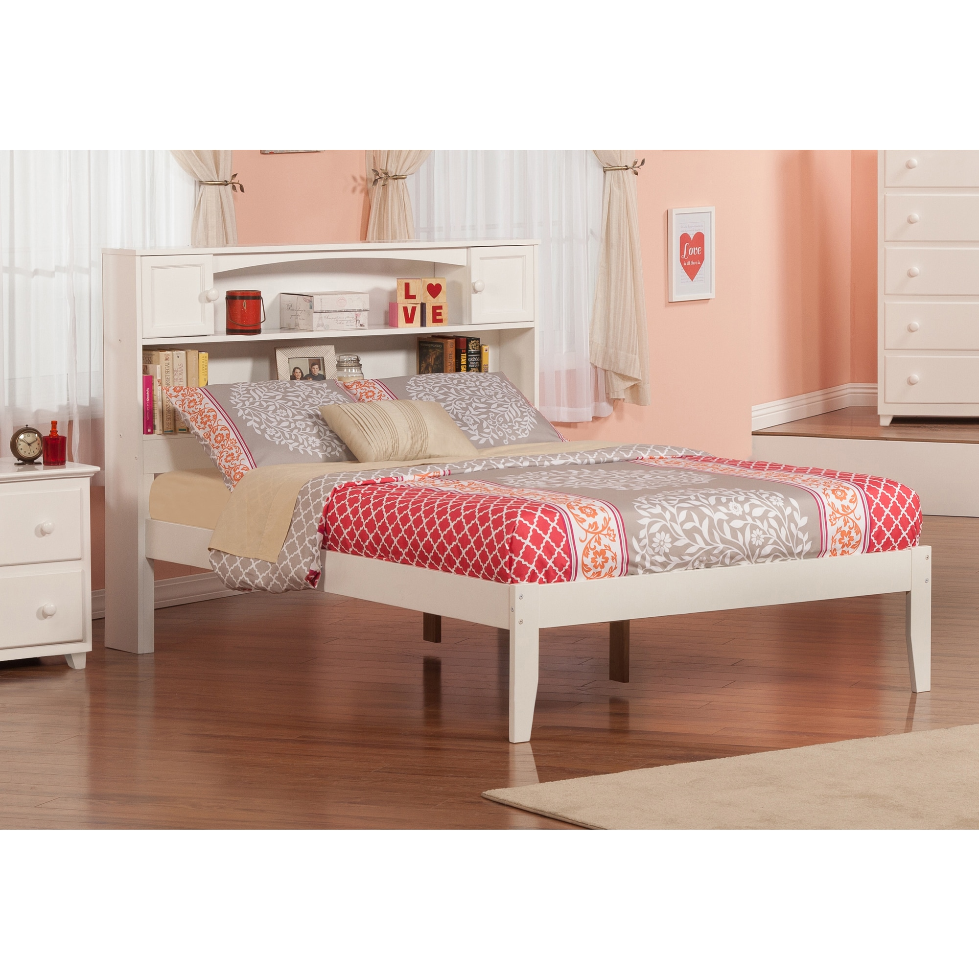 Atlantic Newport White Full-size Open-foot Bed (Size & Co...
