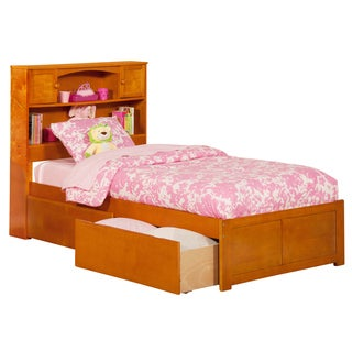 Atlantic Kids' Newport Caramel Latte Twin XL Flat-panel Footboard Platform Bed with 2 Urban Bed Drawers