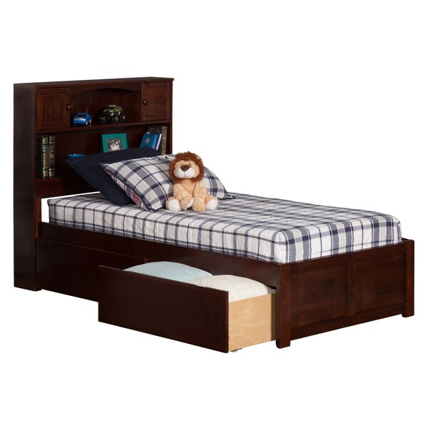Newport Walnut Twin XL Flat-panel Footboard Bed with 2 Urban Bed Drawers