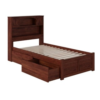 Newport Twin XL Platform Bed with Flat Panel Foot Board and 2 Urban Bed Drawers in Walnut