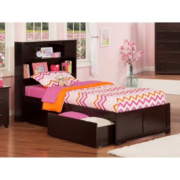 Newport Twin XL Platform Bed with Flat Panel Foot Board and 2 Urban Bed Drawers in Espresso