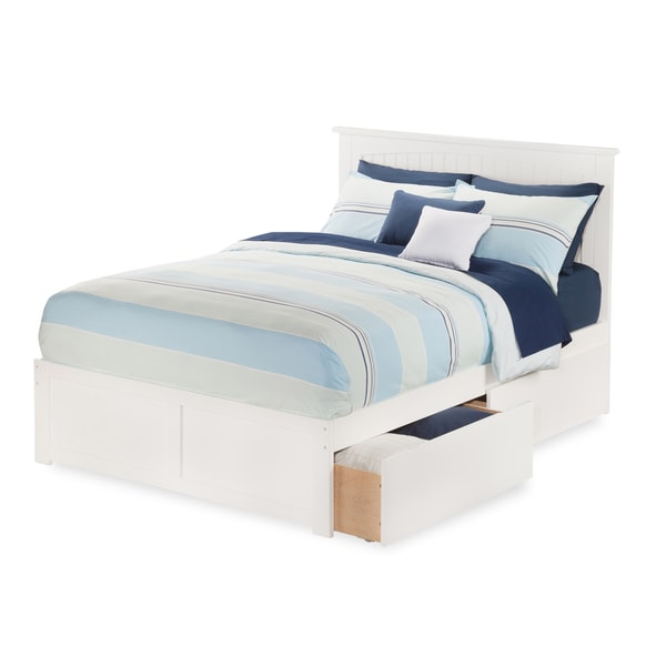 Atlantic Nantucket White Full-size Flat-panel Foot Board with 2 Urban Bed Drawers