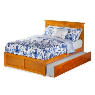 Nantucket Full Platform Bed with Flat Panel Foot Board and Twin Size Urban Trundle Bed Bed in Caramel