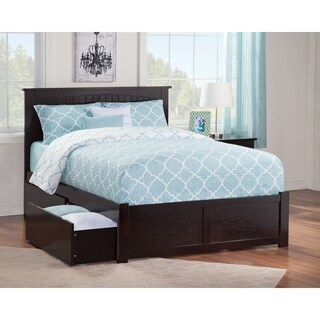 Atlantic Nantucket Espresso Full-size Flat-panel Footboard Bed with 2 Urban Bed Drawers
