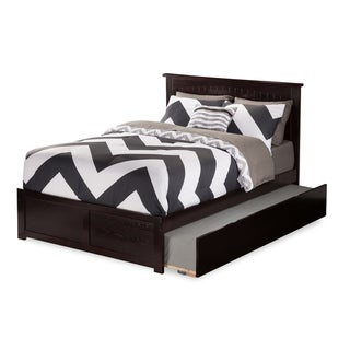 Nantucket Full Platform Bed with Flat Panel Foot Board and Twin Size Urban Trundle Bed Bed in Espresso