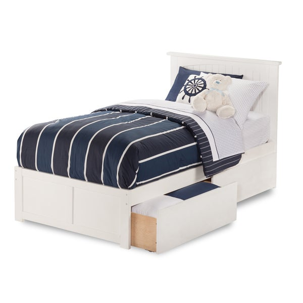 Atlantic Nantucket White Twin-XL Flat-panel Footboard Bed With 2 Urban Bed Drawers