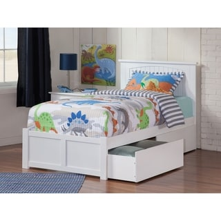 Nantucket Twin XL Platform Bed with Flat Panel Foot Board and 2 Urban Bed Drawers in White
