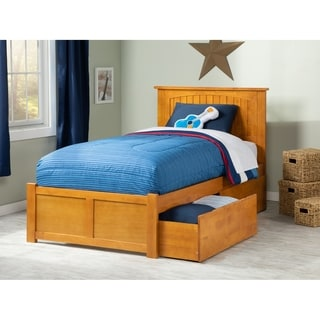 Atlantic Nantucket Caramel Latte Twin XL Flat-panel Footboard Bed with 2 Urban Bed Drawers
