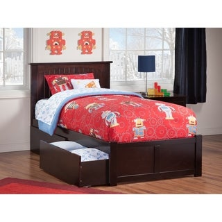 Nantucket Twin XL Platform Bed with Flat Panel Foot Board and 2 Urban Bed Drawers in Espresso