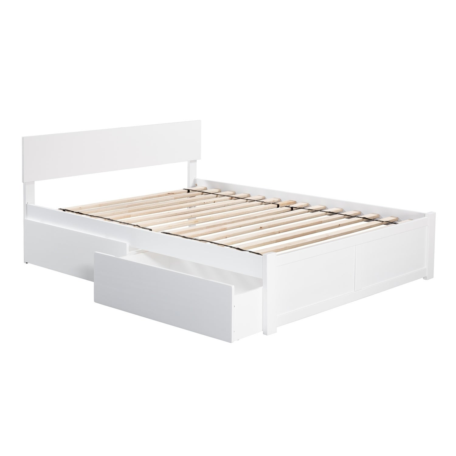 Orlando Full Platform Bed With Flat Panel Foot Board And 2 Urban Bed Drawers In White Overstock 12852261