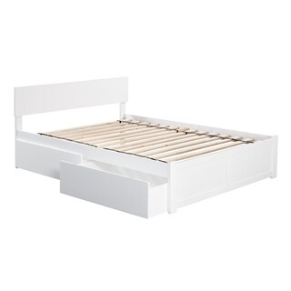 Orlando White Wood Full Flat Panel Platform Bed with 2 Drawers