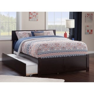 Orlando Full Platform Bed with Flat Panel Foot Board and Twin Size Urban Trundle Bed in Espresso