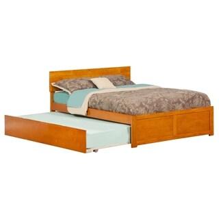Atlantic Orlando Caramel Latte Flat-paneled Full Bed With Footboard and Urban Trundle
