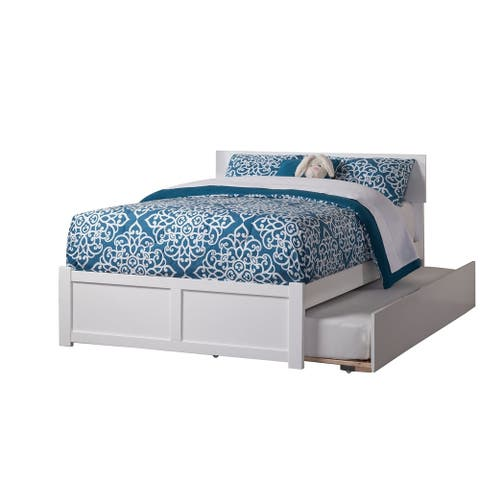 Orlando Full Platform Bed with Flat Panel Foot Board and Twin Size Urban Trundle Bed in White