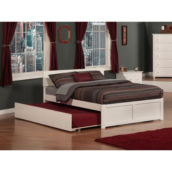 Orlando White Full Size Flat Panel Bed With Urban Trundle