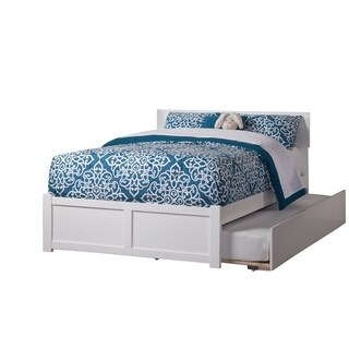 Orlando White Full-size Flat Panel Bed with Urban Trundle