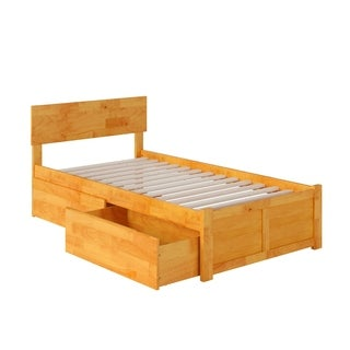 Atlantic Orlando Caramel Latte Twin-size Flat-panel Foot Board with 2 Urban Bed Drawers