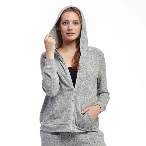 La Cera Women's Black/Blue/Grey Polyester/Rayon/Spandex Plus-size Zip-front Hooded Top