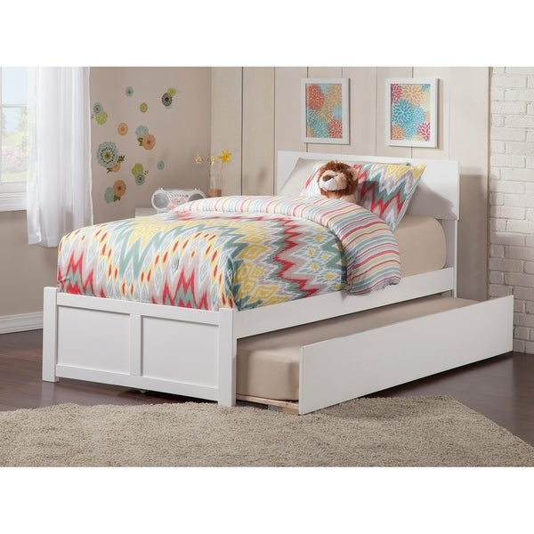 Orlando Twin Platform Bed with Flat Panel Foot Board and Twin Size Urban Trundle Bed in White
