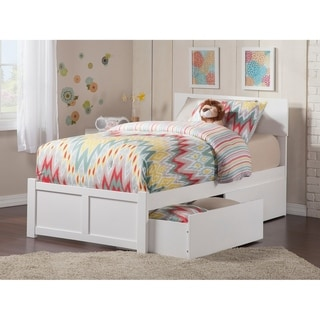 Orlando Twin Platform Bed with Flat Panel Foot Board and 2 Urban Bed Drawers in White