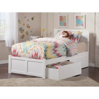 Orlando White Twin Flat Panel Foot Board Bed with Two Urban Bed Drawers