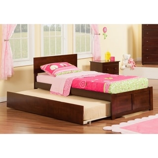 Orlando Twin Platform Bed with Flat Panel Foot Board and Twin Size Urban Trundle Bed in Walnut
