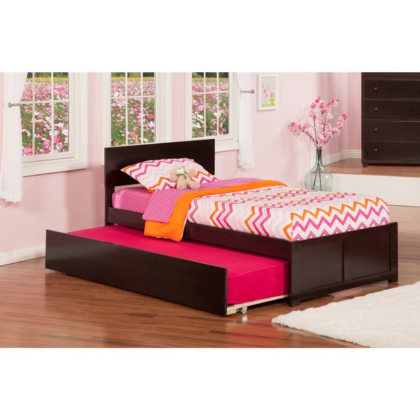 Orlando Espresso Flat Panel Foot Board Twin Bed with Urban Trundle