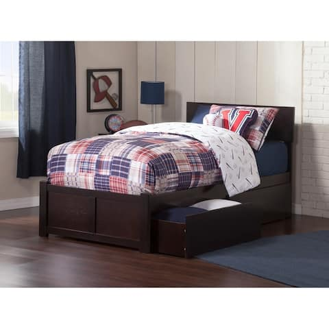 Orlando Twin XL Platform Bed with Flat Panel Foot Board and 2 Urban Bed Drawers in Espresso