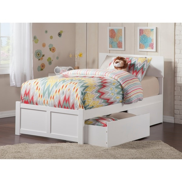 Orlando Twin XL Platform Bed with Flat Panel Foot Board and 2 Urban Bed Drawers in Caramel