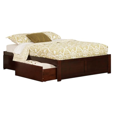 Concord Full Platform Bed with Flat Panel Foot Board and 2 Urban Bed Drawers in Walnut