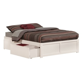 Atlantic Concord White Flat-paneled Full Bed With Footboard and 2 Urban Bed Drawers