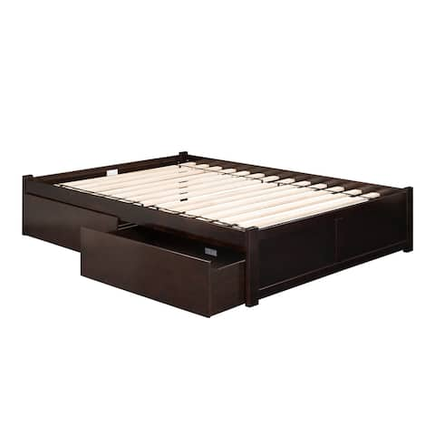 Concord Full Platform Bed with Flat Panel Foot Board and 2 Urban Bed Drawers in Espresso