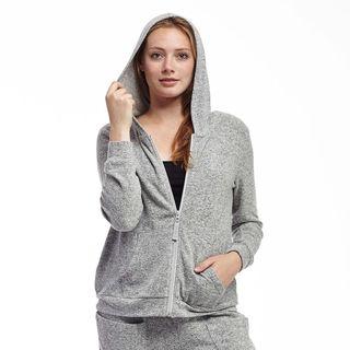 La Cera Women's Zip-front Hooded Top