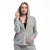 La Cera Women's Zip-front Hooded Top
