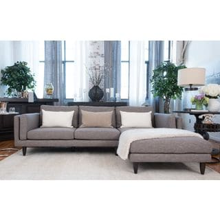 Retro Collection Taupe Fabric Sectional Sofa