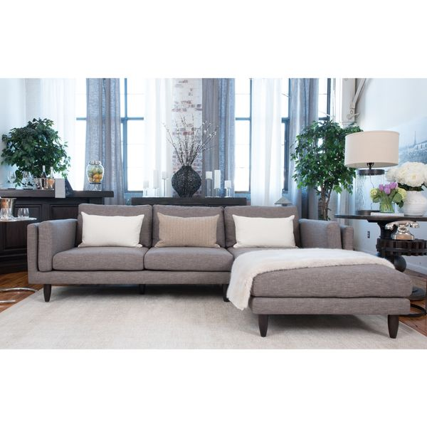 Retro collection taupe fabric sectional sofa free for Brighton taupe 3 piece chaise and sofa set