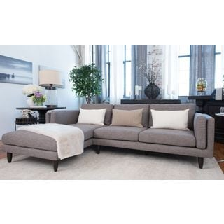 Elements Fine Home Furnishings Retro Fabric Collection Taupe Right-arm-facing Love Seat With Left-arm-facing Chaise Sectional