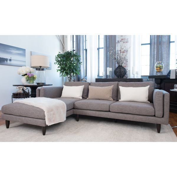 Elements fine home furnishings retro fabric collection for Brighton taupe 3 piece chaise and sofa set