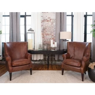 Brayden Rustic Top Grain Leather Standard Chairs (Set of 2)