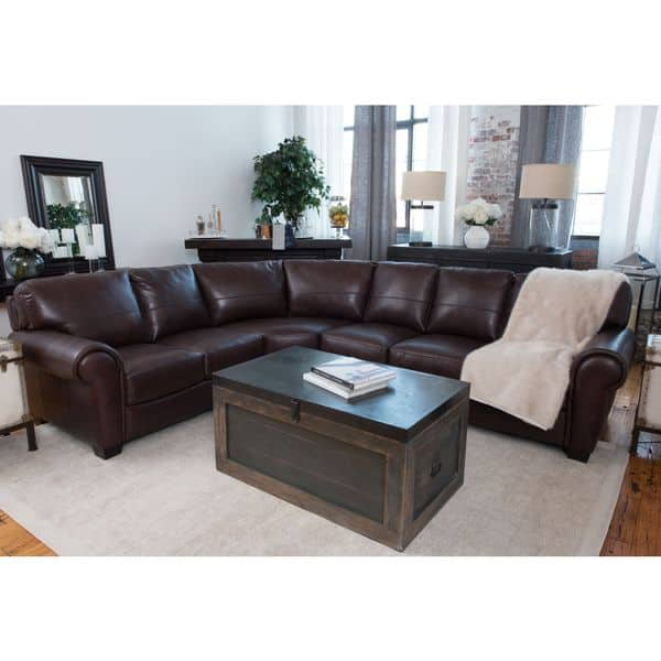 Lodge Coco Top Grain Leather Large Sectional Sofa
