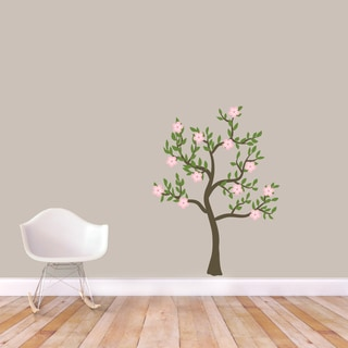 Pink Flowers Tree Printed