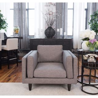 Retro Wood Taupe Fabric Standard Chair