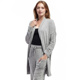 La Cera Women's Long Shawl Collar Cardigan
