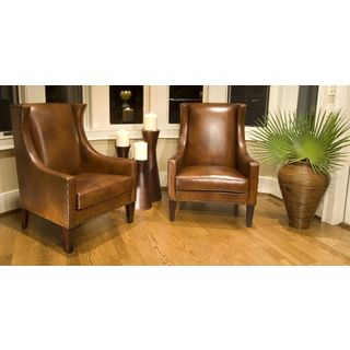 Bristol Set of 2 Rustic Brown Top Grain Leather Accent Chairs