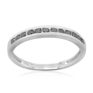 10k White Gold 1/4ct TDW Black Diamond Ring