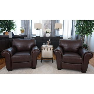 Lodge Set of 2 Coco Brown Top Grain Leather Arm Chairs