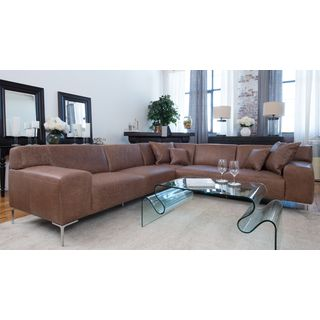 Industrial Chestnut Leather Sectional (Right Facing Loveseat, Corner Seat, and Left Facing Loveseat)